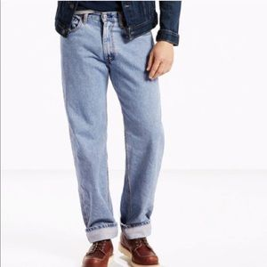 Levi's 550 straight leg, light wash jeans. Size 34